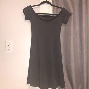 dark grey dress off the shoulder